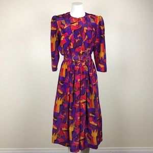 Vintage Multi Colored Abstract Print Dress